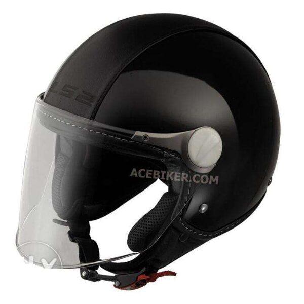 OF560 Beetle Black Leather Half Face Helmet