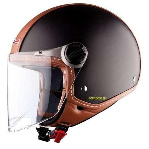 OF560 Beetle Brown Leather Half Face Helmet