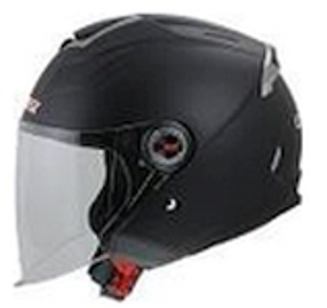 OF578 Matt Black Open Face Dual Visor Helmet